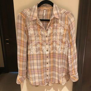 Free People Magical Plaid Embroidered Flannel